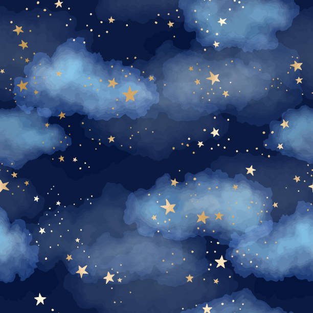 illustrazioni stock, clip art, cartoni animati e icone di tendenza di seamless dark blue night sky pattern with gold foil constellations, stars and watercolor clouds - stelle
