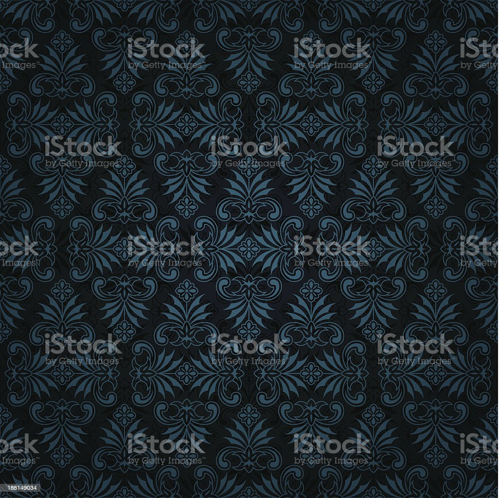 Seamless dark blue tile vintage wallpaper design royalty-free stock vector art
