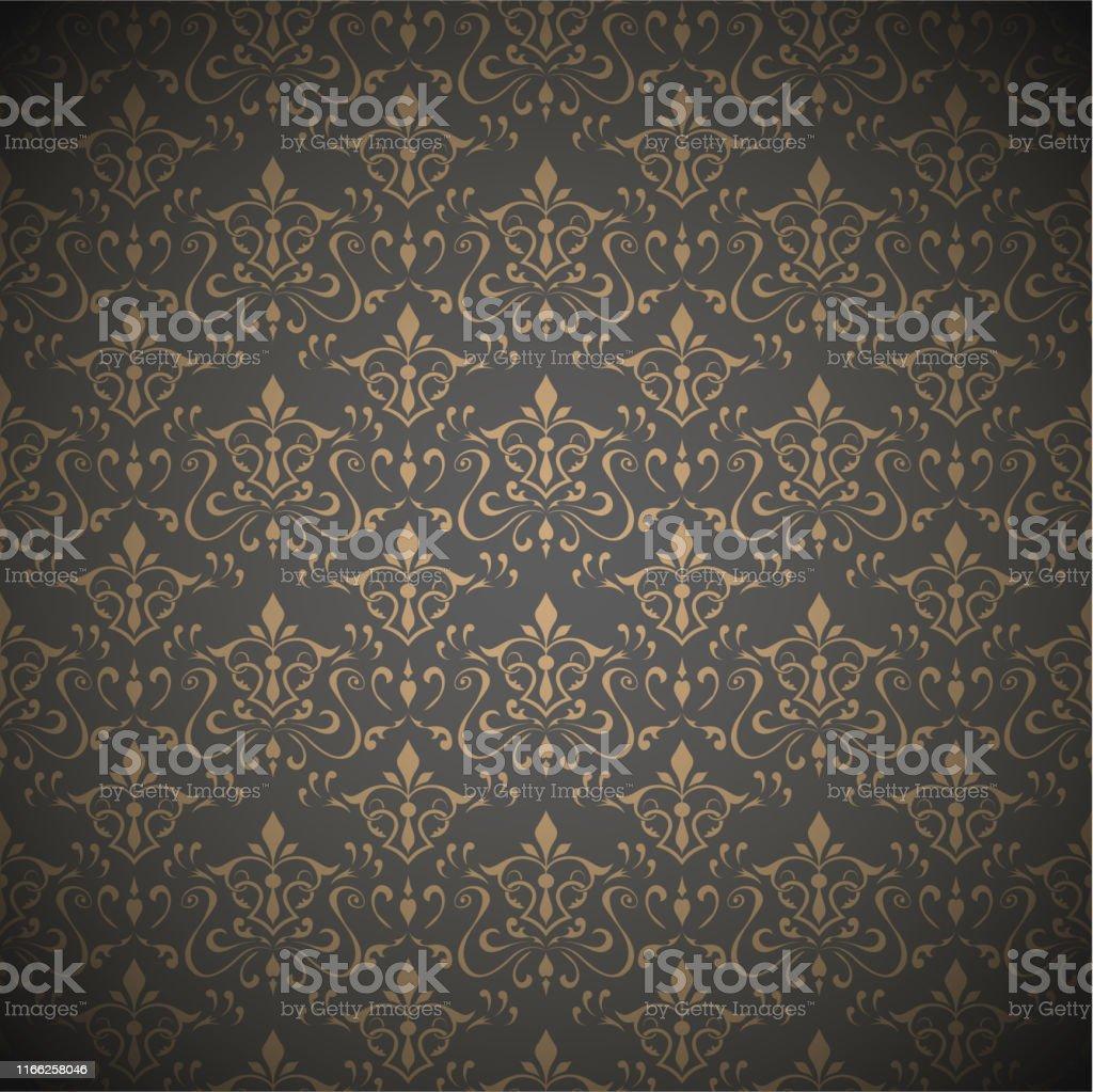 Seamless Dark Floral Wallpaper Vector Illustration Stock