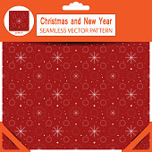Seamless dark red vector pattern from snowflakes and snow for Merry Christmas and Happy New Year in package with pattern unit.
