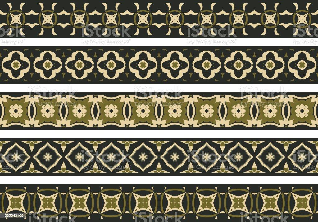Seamless decorative borders 免版稅 seamless decorative borders 向量插圖及更多 五個物體 圖片