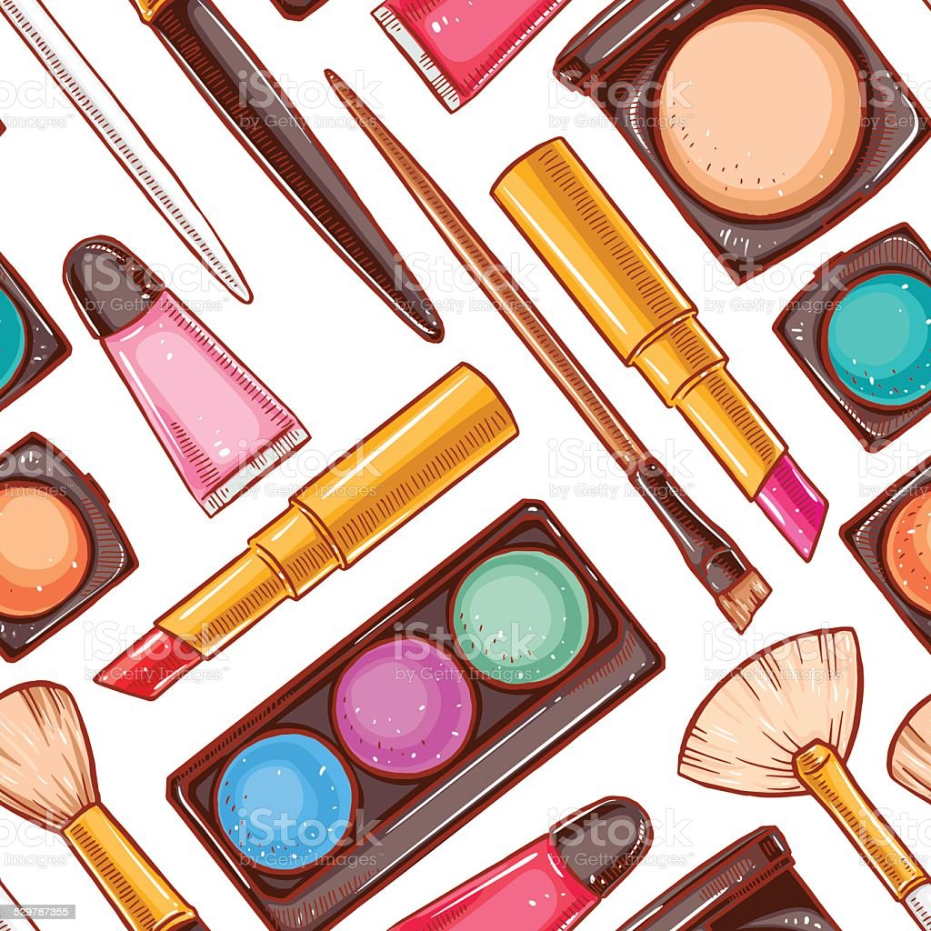 Seamless decorative cosmetics - 1 vector art illustration