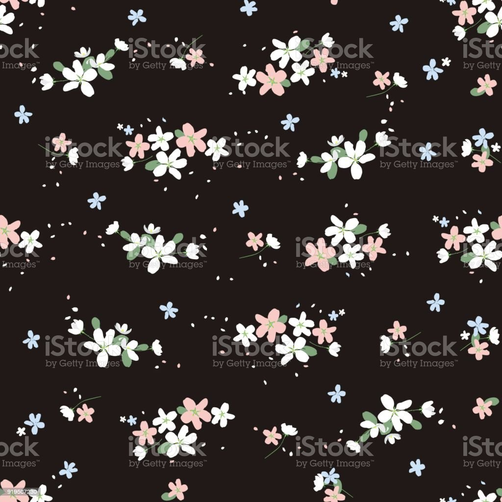 Seamless Decorative Elegant Pattern With Small Cute Flowers On Black Background Rich Fashionable Floral Texture For Wallpaper Interior Tiles Print Textiles Packaging And Various Types Of Design Style Millefleurs Stock Illustration