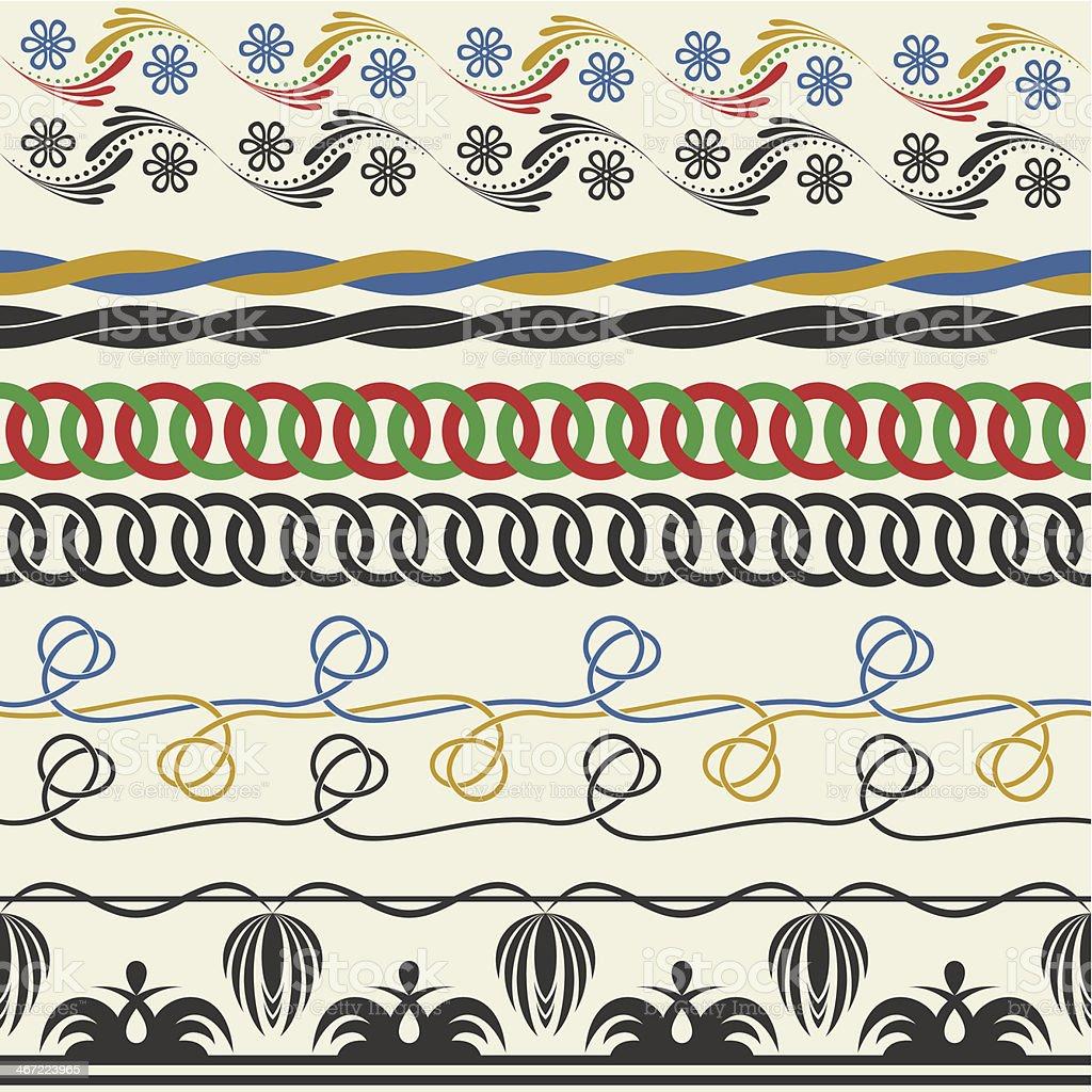 Seamless decorative elements vector art illustration