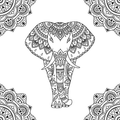 Seamless decorative ornament in ethnic oriental style. Circular pattern in form of mandala and African elephant for Henna, Mehndi, tattoo, decoration.