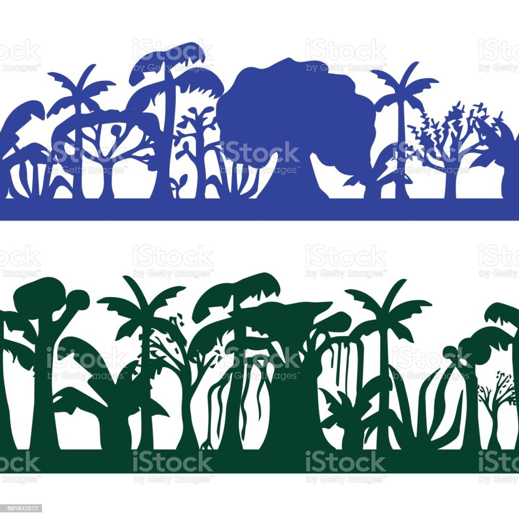 Seamless decorative ornament of tropical tree silhouettes. Trees seamless pattern. vector art illustration