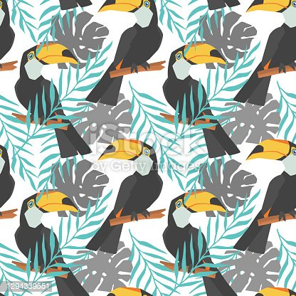istock Seamless decorative pattern with toucan and tropical leaves. Hand drawn images. Trend of season on White background. Vector eps 10 illustration 1294339551