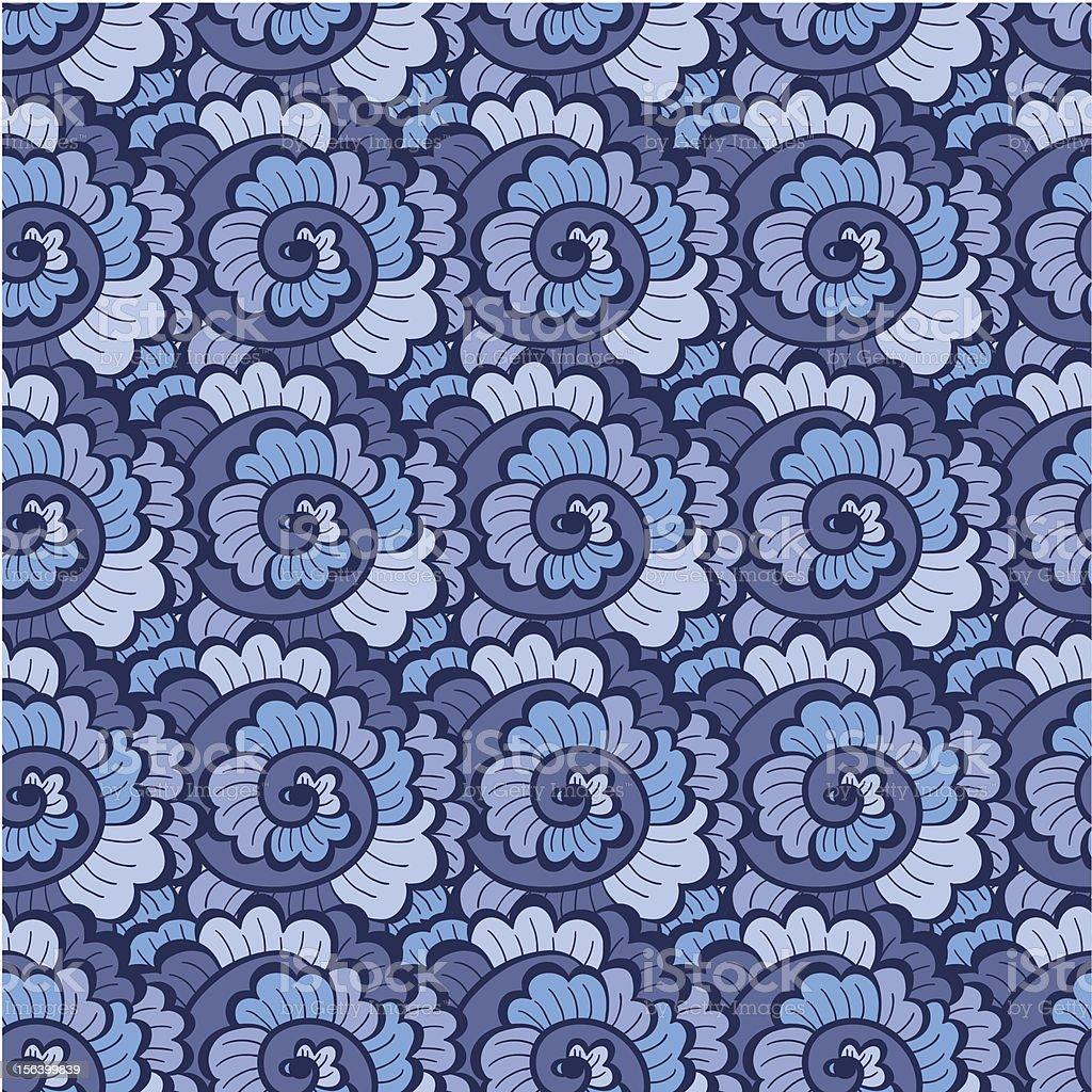 Seamless decorative wavy pattern blue royalty-free stock vector art