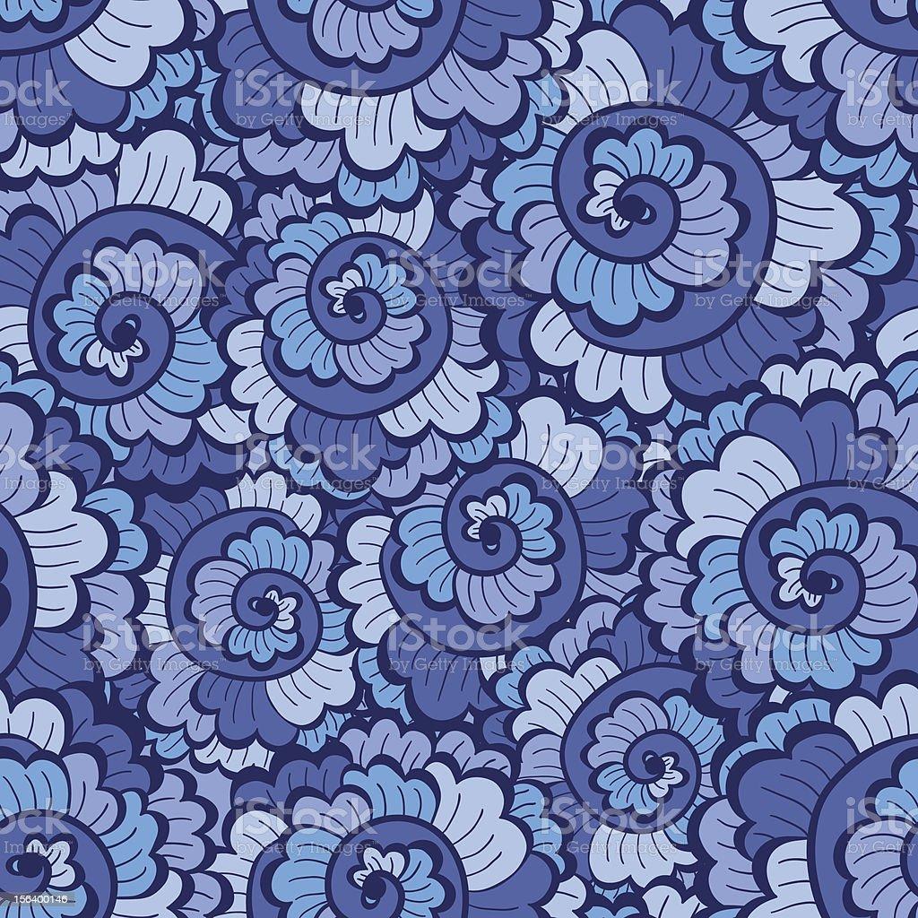 Seamless decorative wavy pattern bright blue royalty-free stock vector art