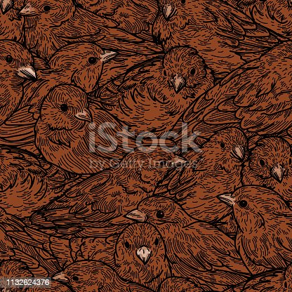 istock Seamless Dense Sparrow Bird Pattern 1132624376