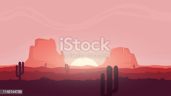 Seamless desert landscape. Beautiful high quality unending background. Layered for parallax effect. For 2d game. Simple cartoon design. With sunset. cactuses, mountains. Flat style vector illustration