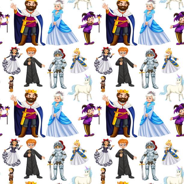 nahtloses design mit märchenfiguren - prince stock-grafiken, -clipart, -cartoons und -symbole