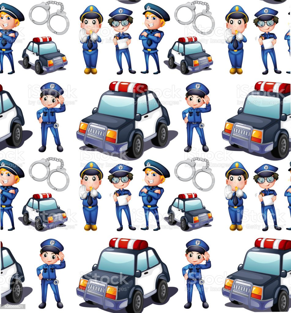 Seamless design with policemen and patrol cars vector art illustration