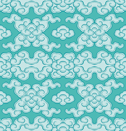 Vector Illustration Illustration of a Seamless Pattern or Fabric with Oriental Dharma Blue Clouds