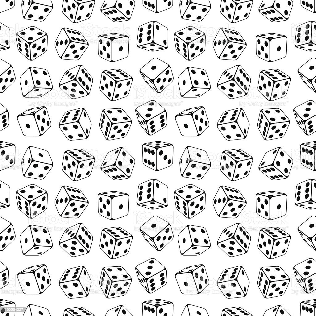 Seamless dice pattern on a white background vector art illustration