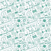 Seamless vector background contains doodle diet & fitness drawings.