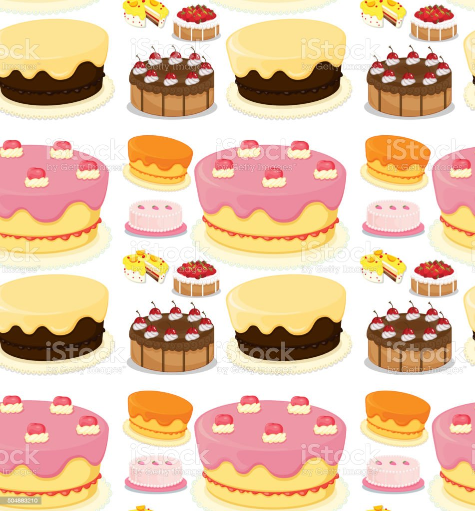 Seamless different kind of cake vector art illustration