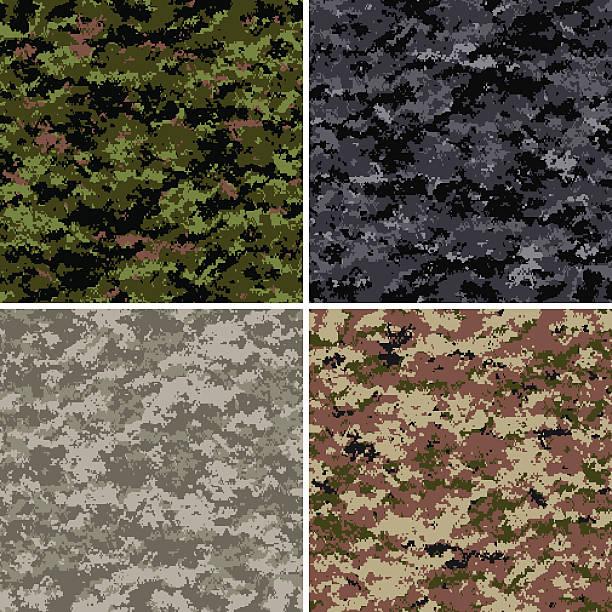 seamless digital camouflage patterns - 偽裝 幅插畫檔、美工圖案、卡通及圖標