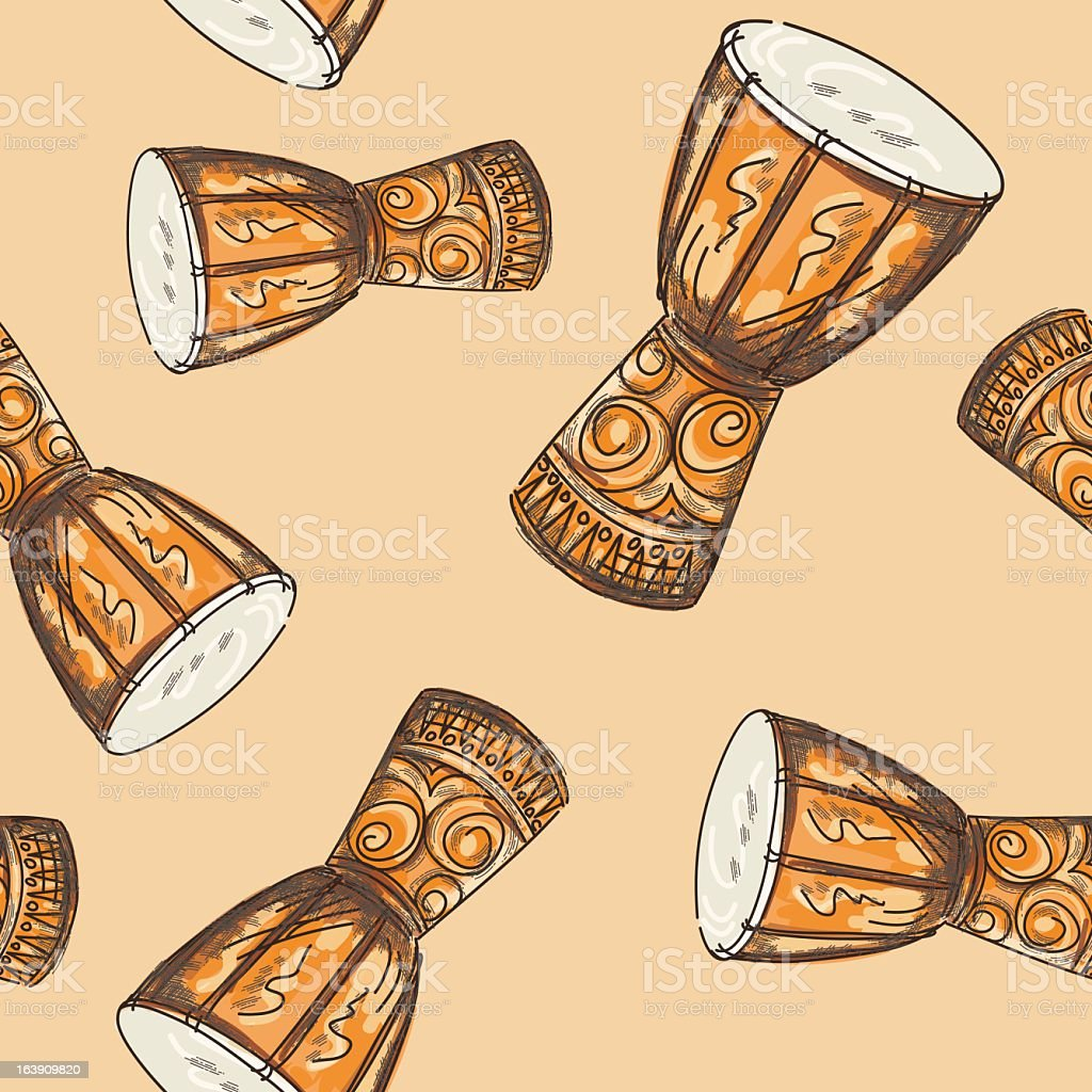 Seamless Djembe Drum Pattern vector art illustration