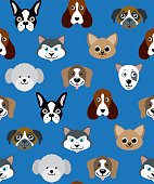 Vector Illustration of a cute seamless Dog Heads Background
