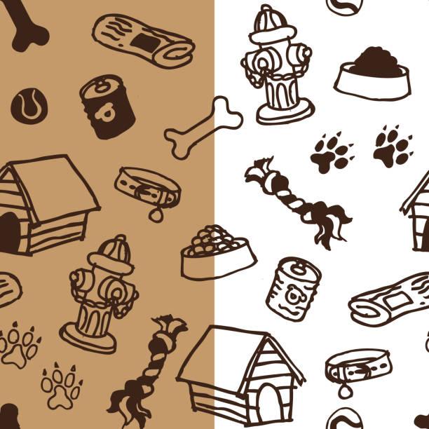 nahtlose hund zubehör-muster - schoßhunde stock-grafiken, -clipart, -cartoons und -symbole