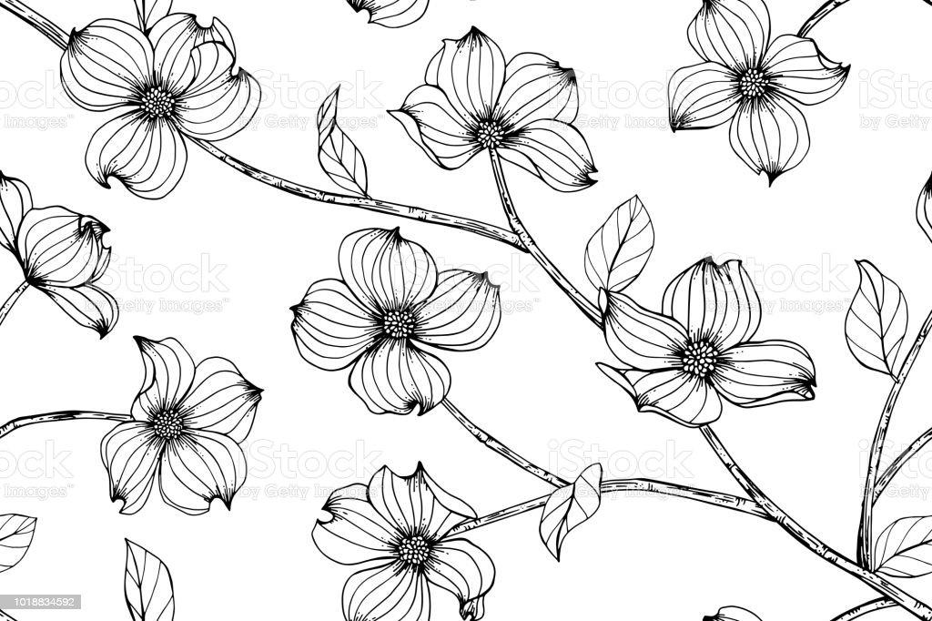 Sans Soudure Arriereplan De Modele De Fleur De Cornouiller Noir Et Blanc Avec Dessin Illustration Art Ligne Vecteurs Libres De Droits Et Plus D Images Vectorielles De Abstrait Istock
