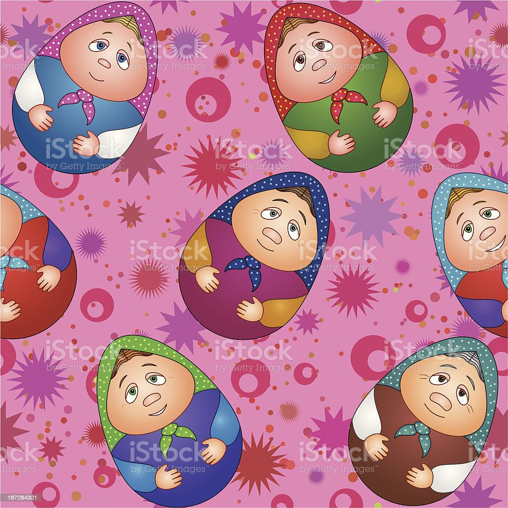 Seamless, dolls and abstract pattern vector art illustration
