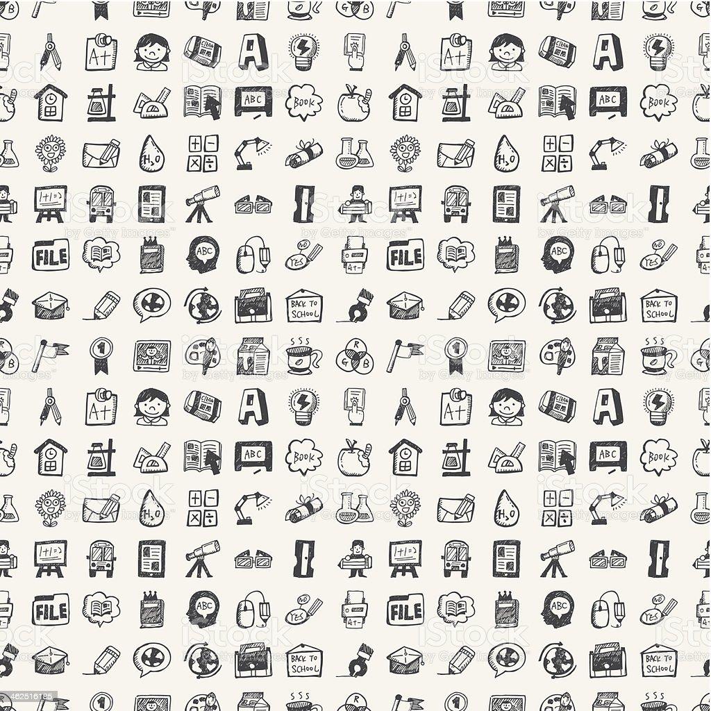 Ilustración de Volver A La Escuela Sin Costura Doodle Elementos De ...
