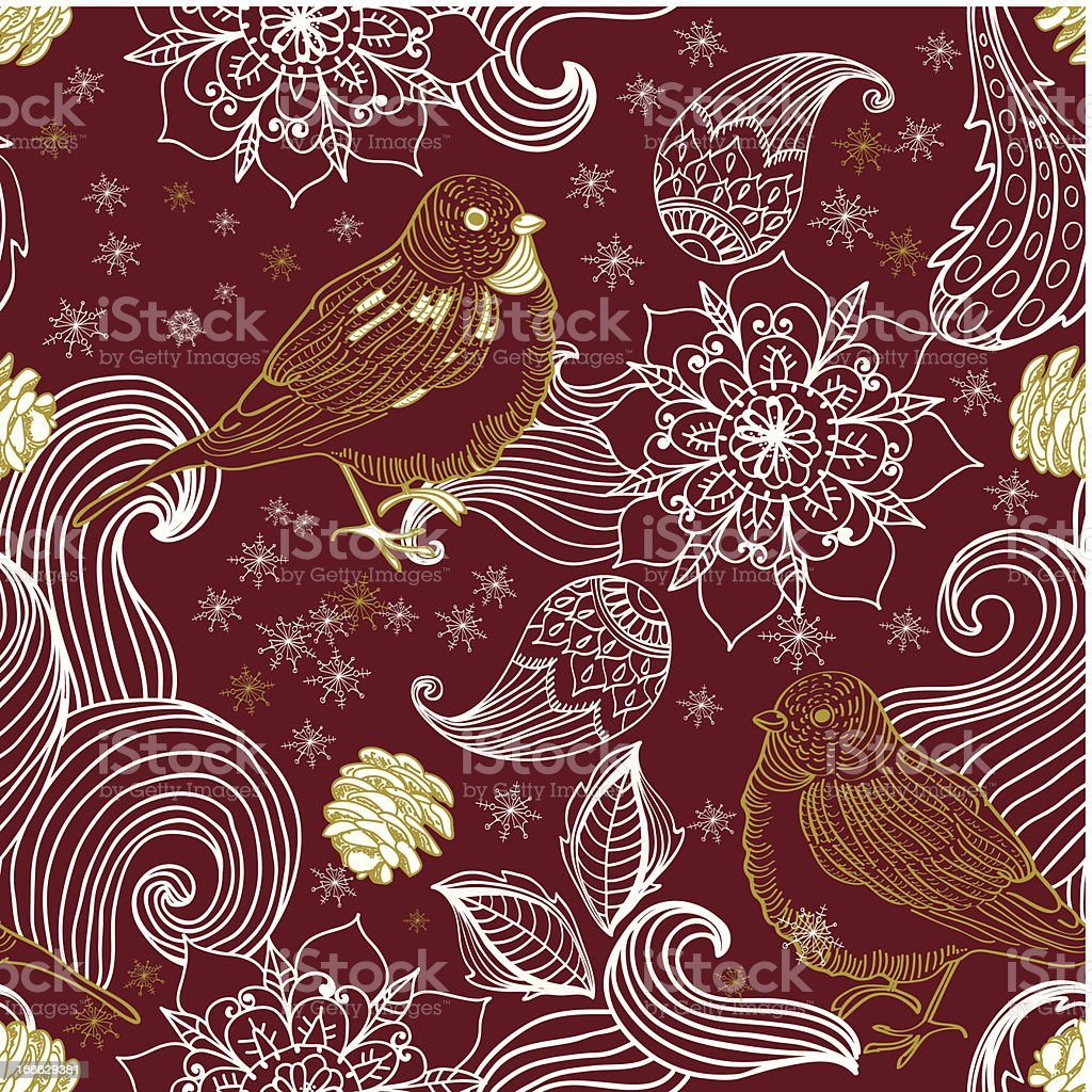 Seamless doodle background bird and floral elements royalty-free stock vector art