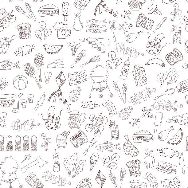 シームレスな落書きバーベキューパターン - ピクニック点のイラスト素材/クリップアート素材/マンガ素材/アイコン素材