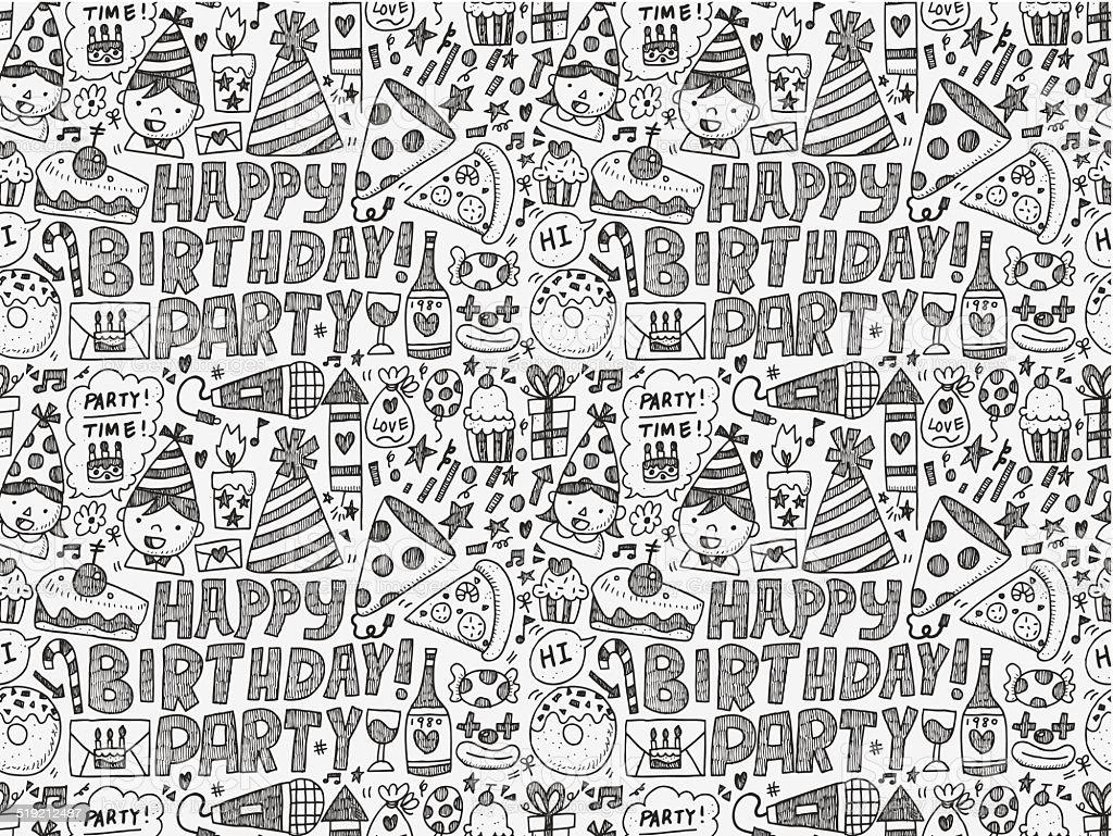 Ilustración de Garabatos Patrón Sin Costuras Fondo De Fiesta De ...