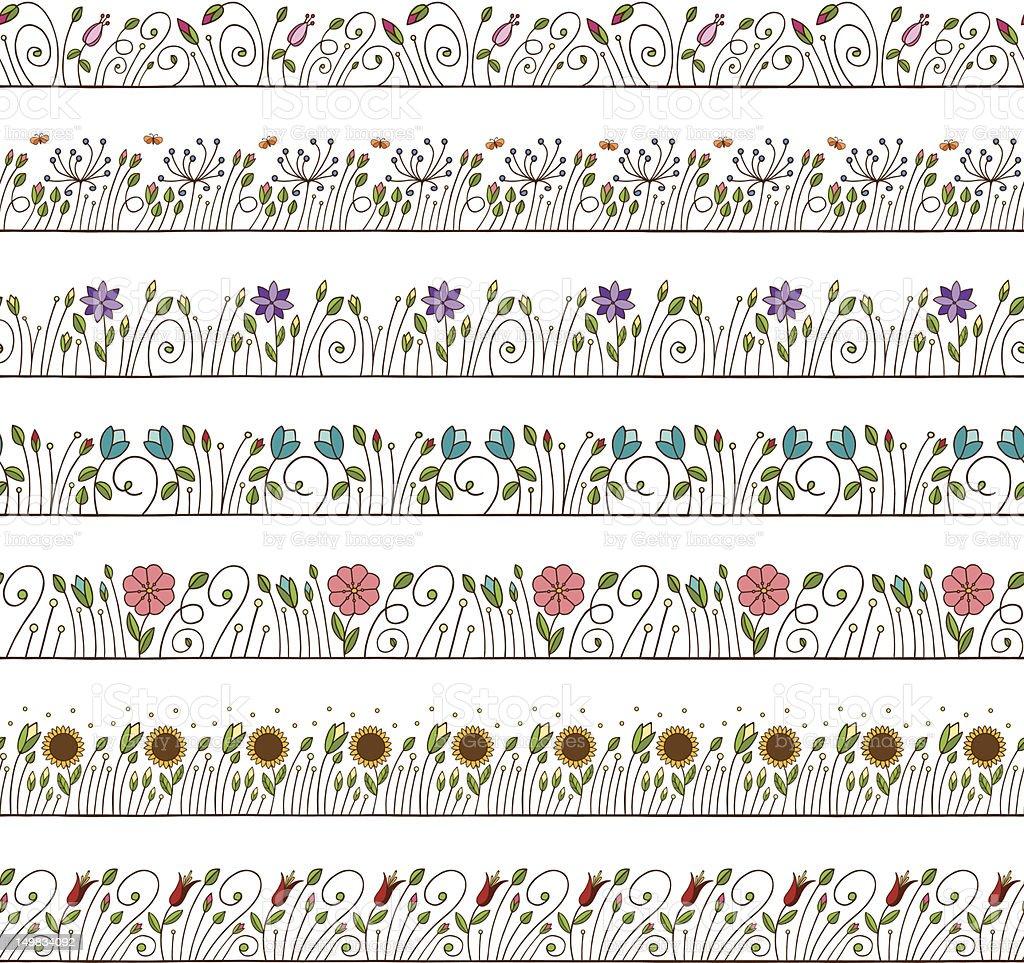 Seamless Doodle Border and Frame Elements Floral vector art illustration