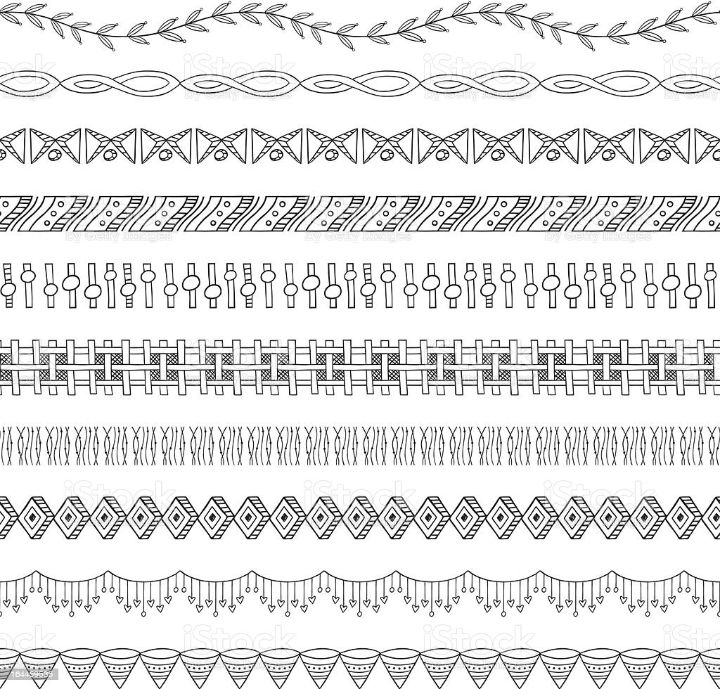 Seamless Doodle Border and Frame Elements two vector art illustration