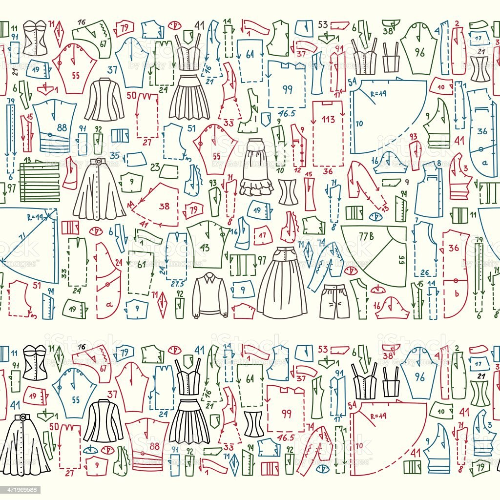 Seamless Doodle Borders With Clothes And Sewing Patterns Stock Illustration Download Image Now Istock