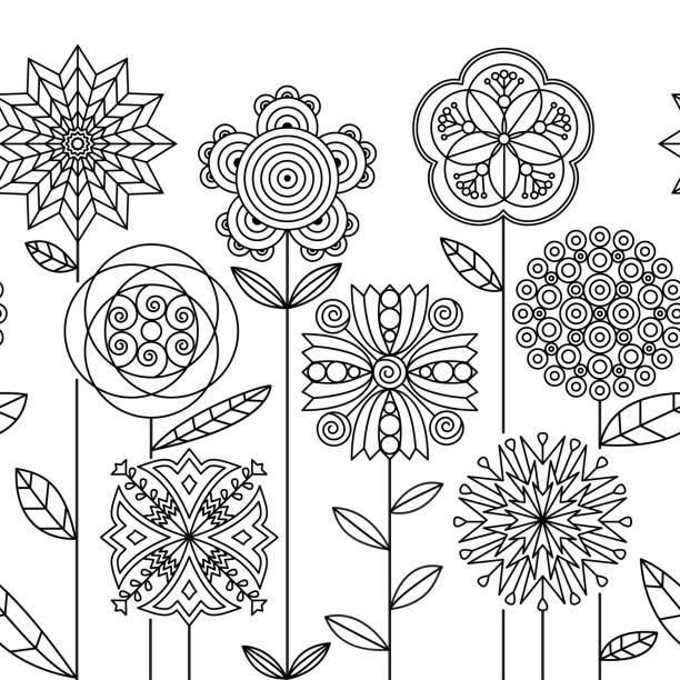 원활한 낙서 식물 테두리입니다. 흑인과 백인 추상 꽃 필드입니다. - 색칠하기 stock illustrations