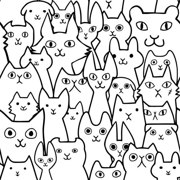 シームレスな落書き猫顔ライン アート背景 ベクターアートイラスト
