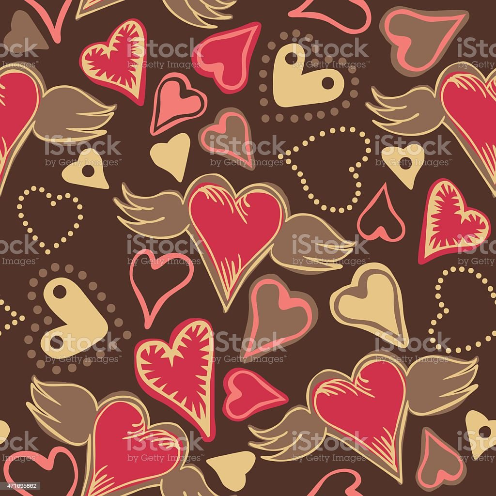 seamless doodle colorful hearts vector art illustration