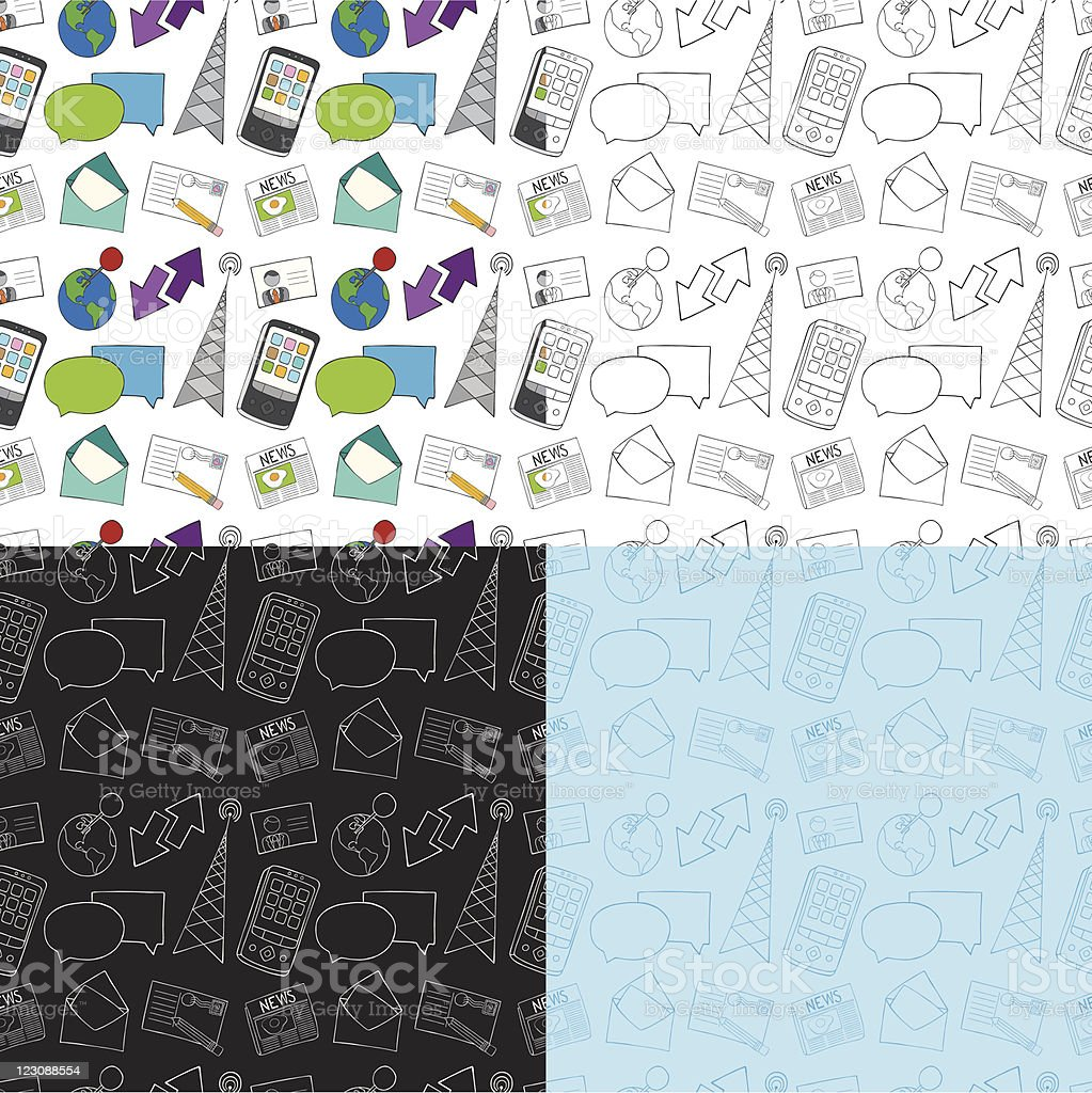 Seamless Doodle Communication Pattern royalty-free stock vector art