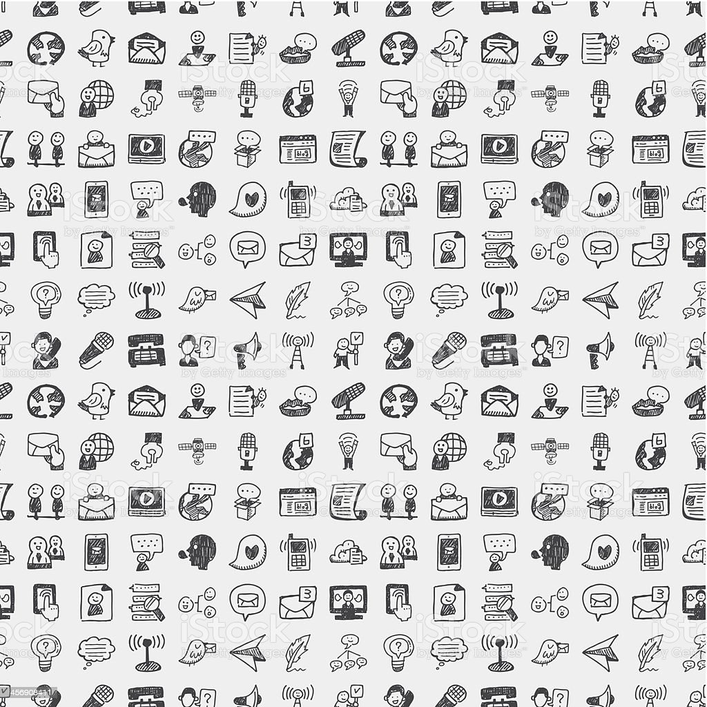 seamless doodle communication pattern vector art illustration