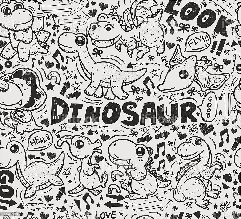 Dinosaurio Patrón Sin Costuras Garabato Illustracion Libre de ...