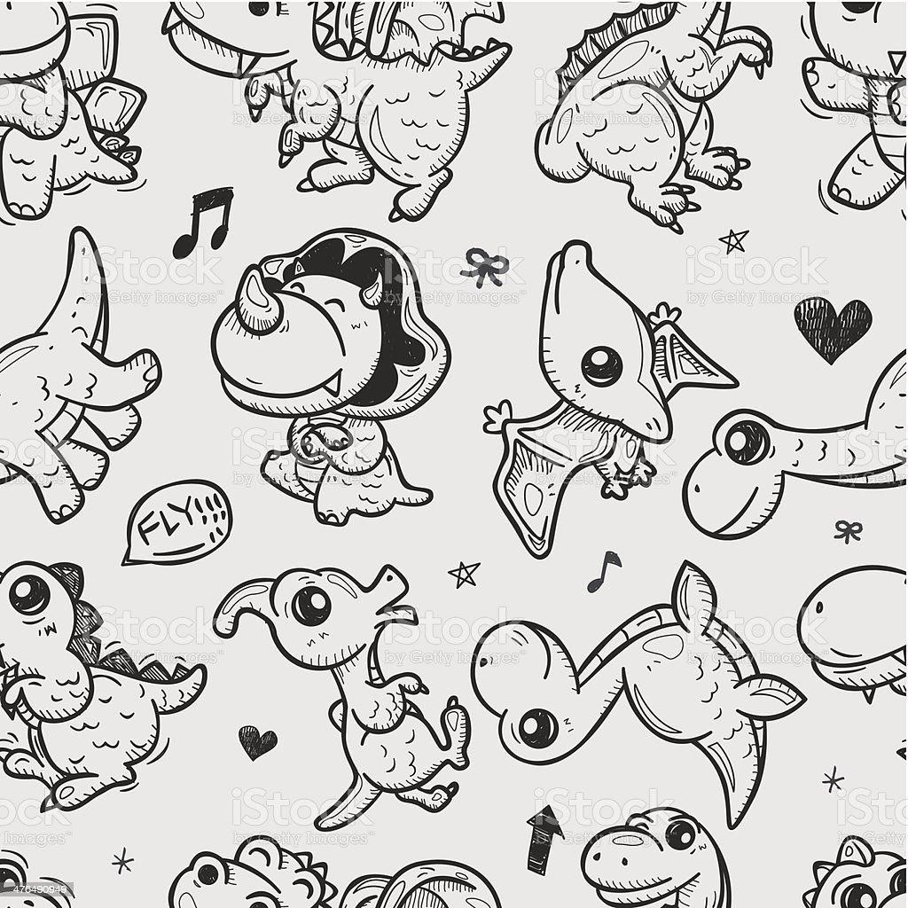 Ilustración de Dinosaurio Patrón Sin Costuras Garabato y más banco ...