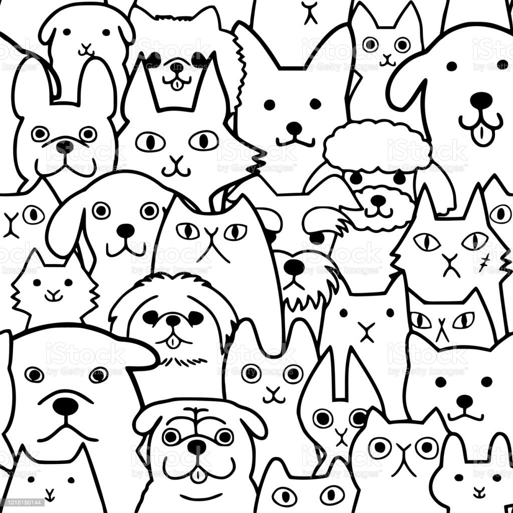 Seamless doodle dogs and cats faces line art background illustration