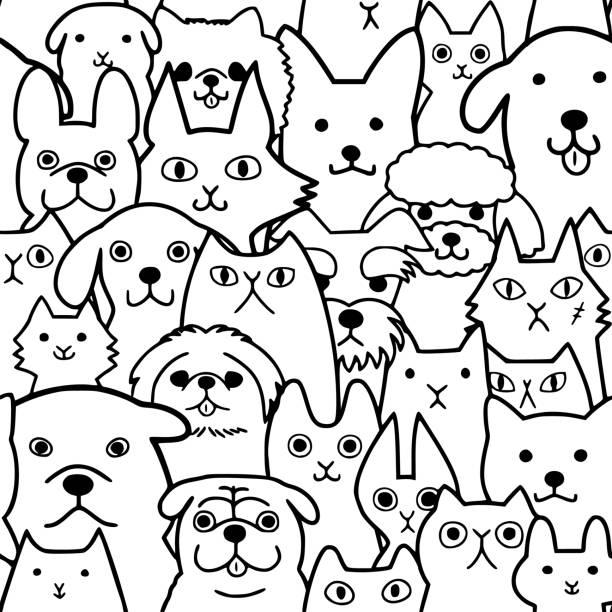 シームレスな落書き犬や猫顔ラインのアートの背景 ベクターアートイラスト
