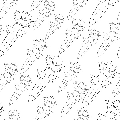 Seamless doodle, doodle background, drop of rockets.