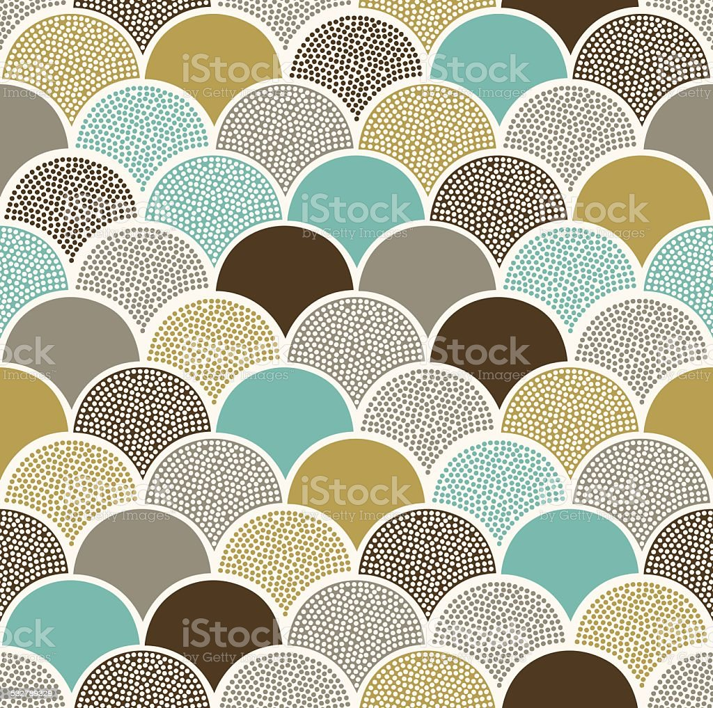 seamless doodle dots cute scallop wave pattern vector art illustration