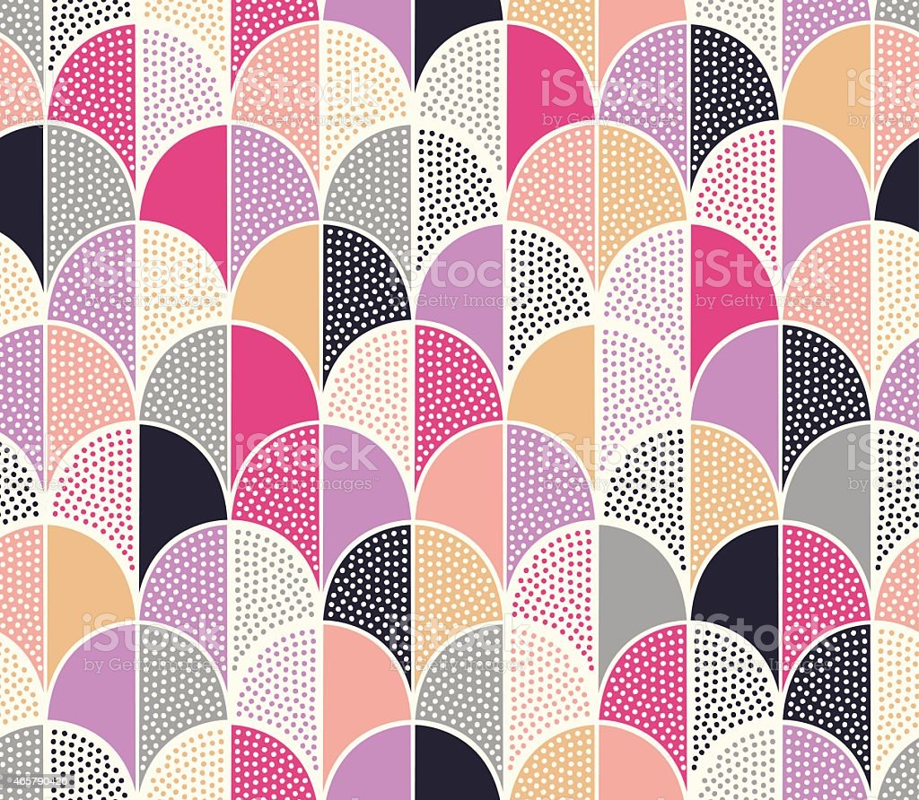 seamless doodle dots scallop pattern vector art illustration