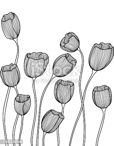 Hand drawn floral doodle. Horizontally seamless pattern. EPS10 vector illustration.