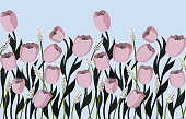 istock Seamless doodle flowers 1218841469