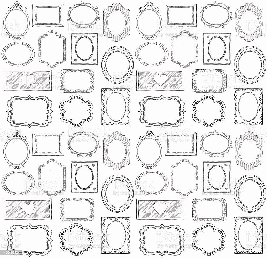 Seamless doodle frame set vector art illustration