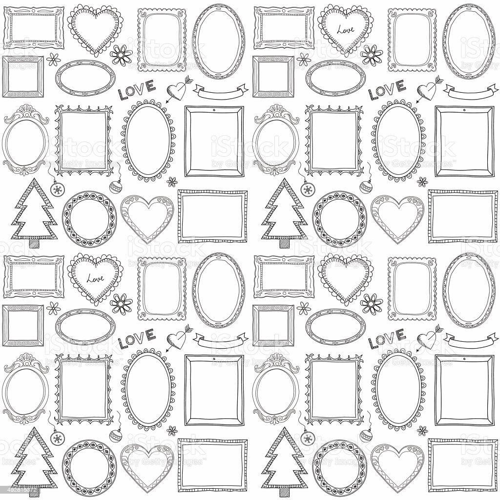 Seamless Garabato juego de bastidor - ilustración de arte vectorial